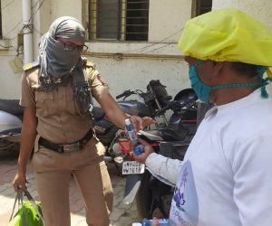 People to People helping police with providing sanitizers