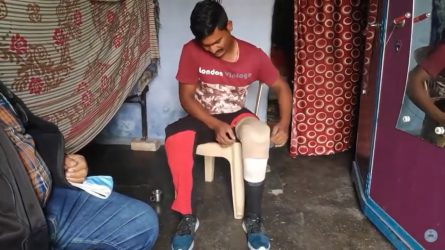 Thank you from Samsher for his 2 artificial legs after train accident